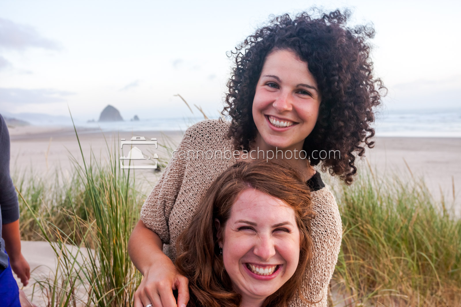 Sisters Smiling in Cannon Beach