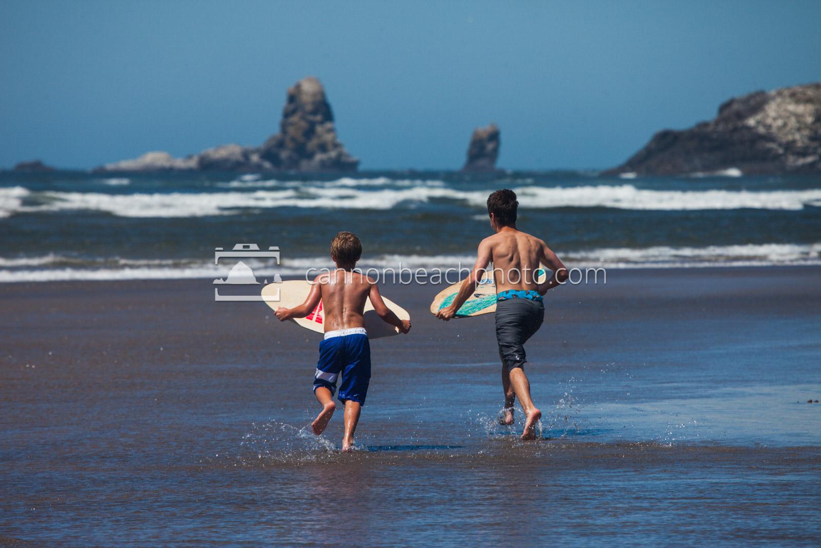 Boys Skimboarding in Cannon Beach 1