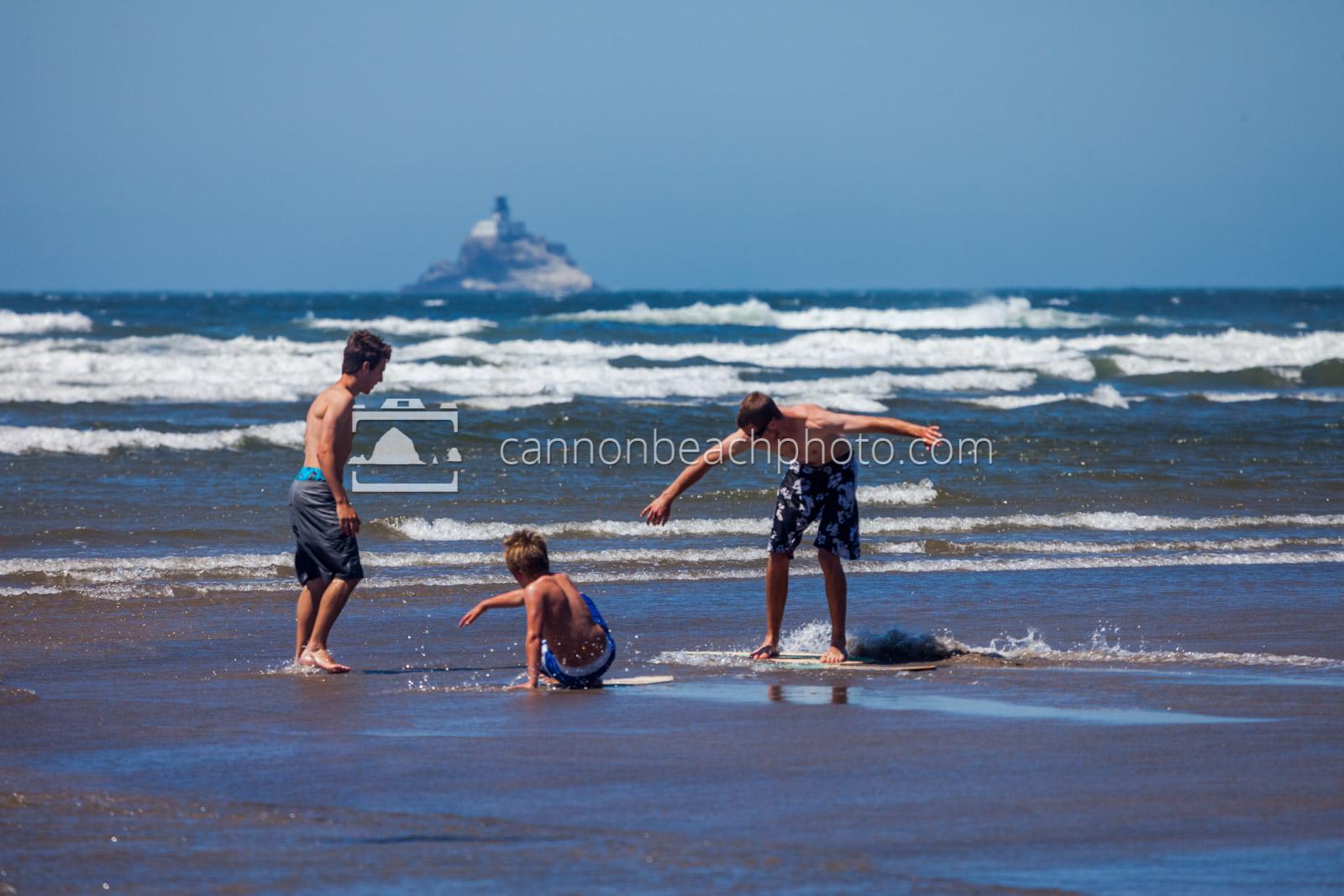 Boys Skimboarding in Cannon Beach 2