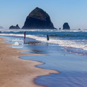 Children Playing on the Shoreline with Haystack Rock 3