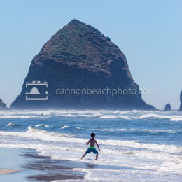 Children Playing on the Shoreline with Haystack Rock 4