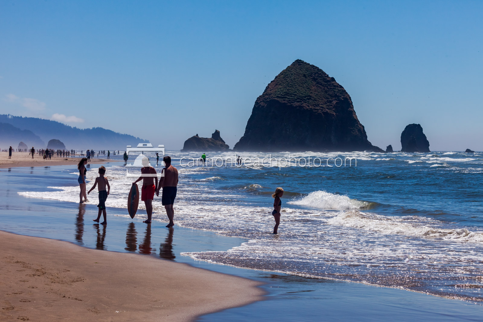 Children Playing on the Shoreline with Haystack Rock 5