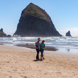 Couple Walking Near Haystack Rock, Horizontal