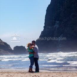 Kissing Couple Near Haystack Rock