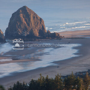 Sunrise on Haystack Rock from a Distance
