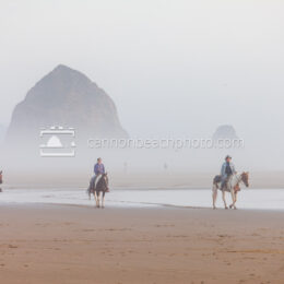 Foggy Day for Horse Riding at Haystack Rock