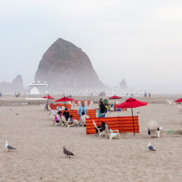 Red Beach Umbrellas Near Haystack Rock