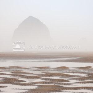 Dreamy Haystack Rock thru the Fog, Horizontal