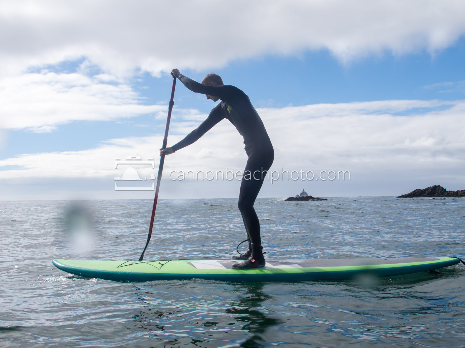 Young Man Paddleboarding at Ecola State Park 1