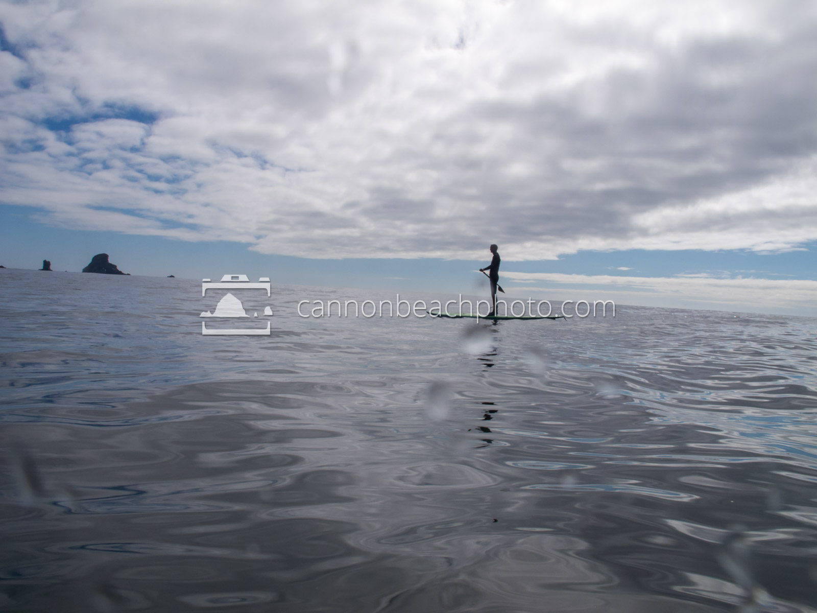 Young Man Paddleboarding at Ecola State Park 2
