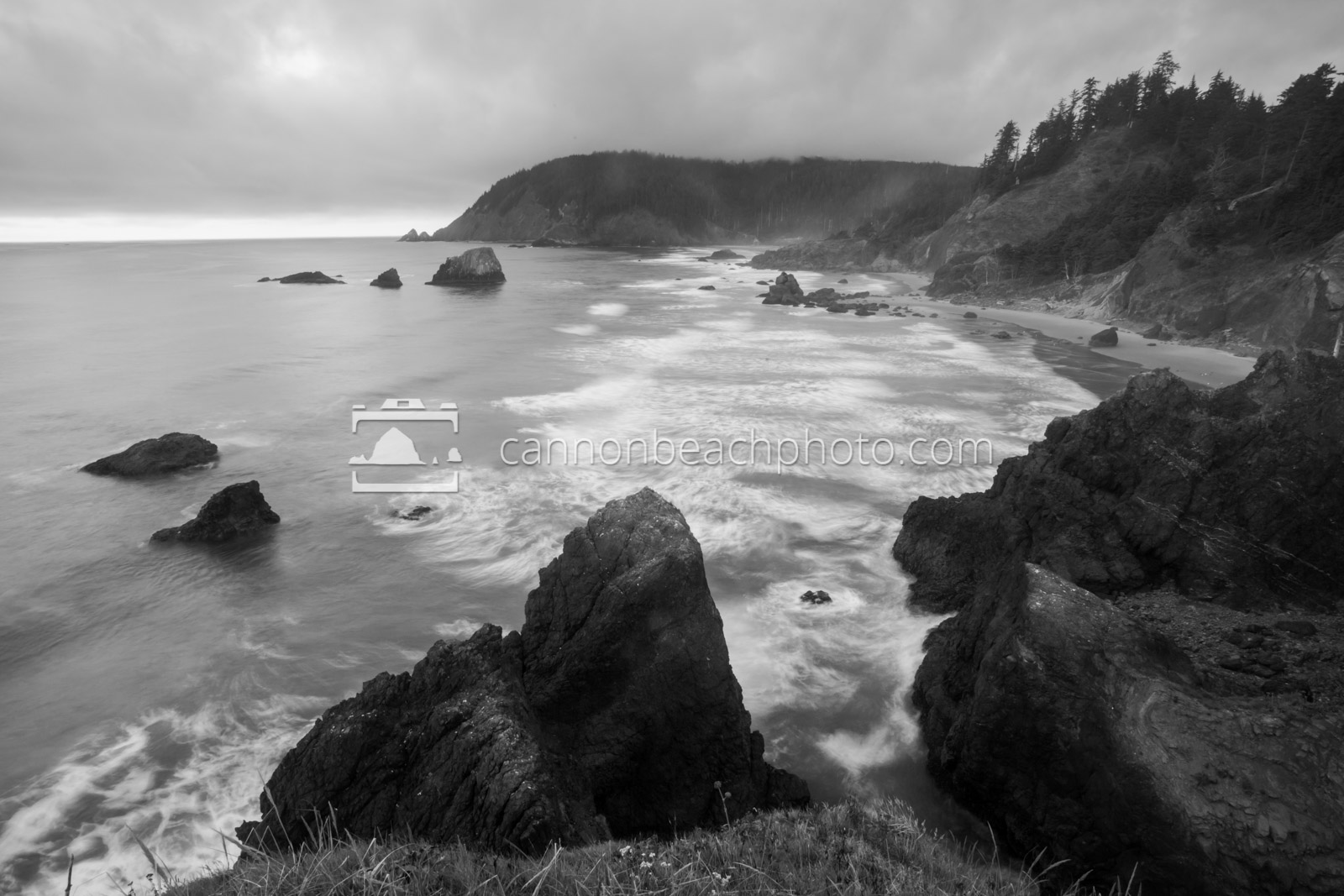 Black and White Oregon Coast Seascape, Ecola State Park