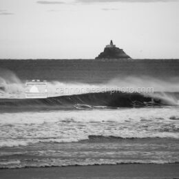 Tillamook Lighthouse and Wave Curl, Black and White
