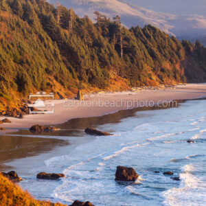 Vertical View of Glowing Crescent Beach