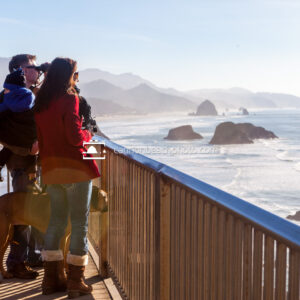 Family taking in the Winter View at Ecola State Park