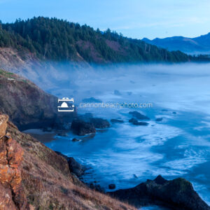 Foggy Crescent Beach from Ecola State Park
