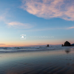 Winter Sunset with Haystack Rock, Horizontal