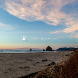 Winter Sunset with Haystack Rock in the Distance