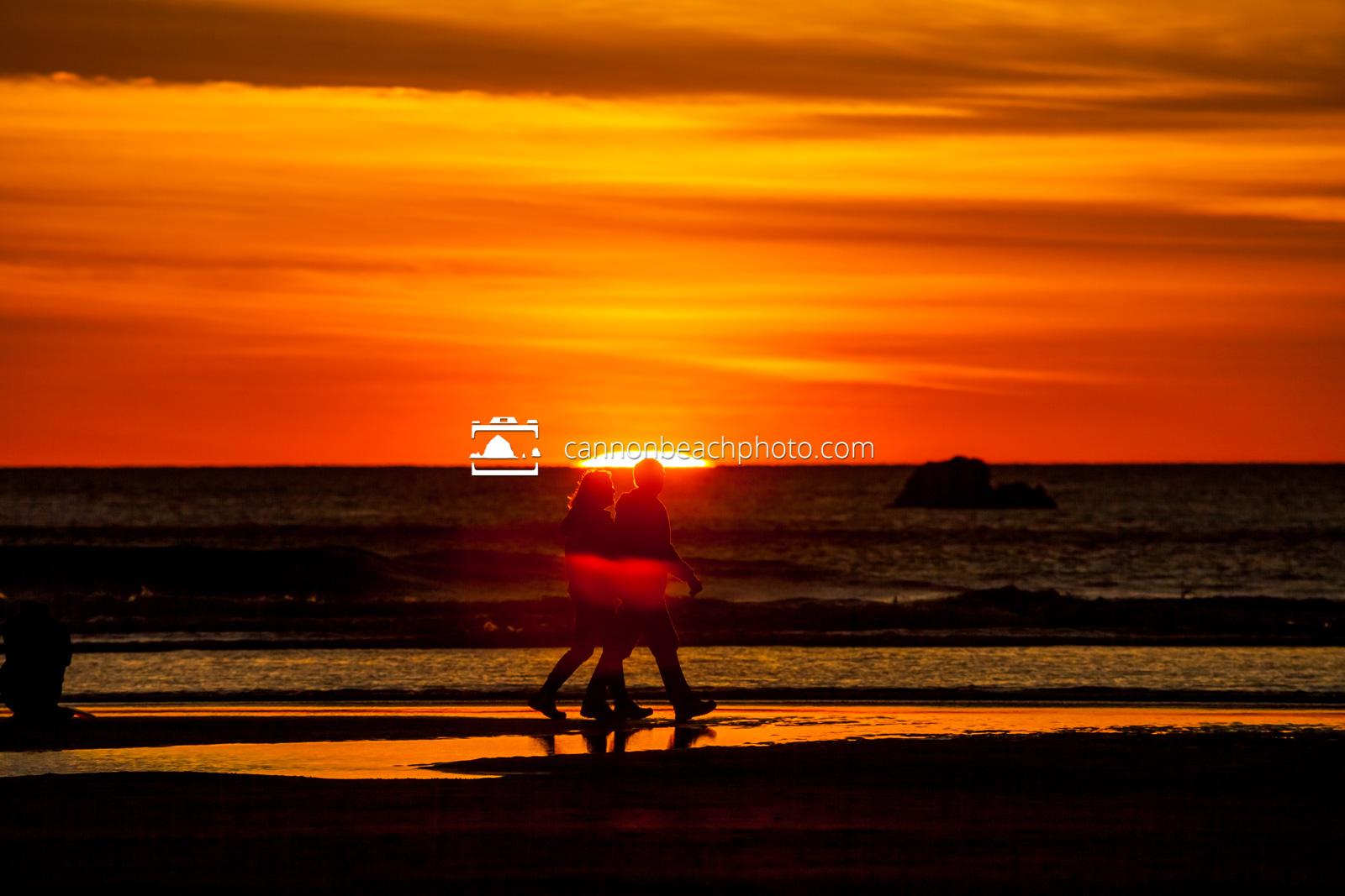 Couple Walking as the Sun Drops