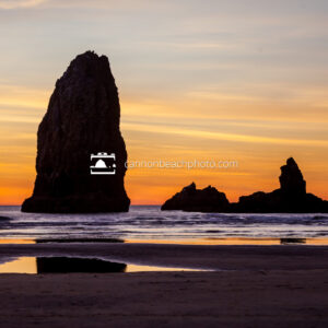Needle and Monk Rock at Yellow Sunset