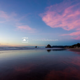 Pink Afterglow Reflected Haystack Rock, Horizontal