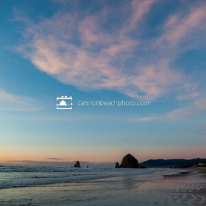 Winter Sunset with Haystack Rock, Vertical