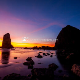Haystack Rock Brilliant Sunset Afterglow