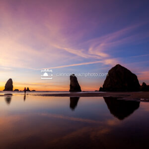Haystack Rock Brilliant Sunset with People