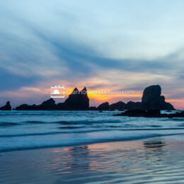 Sun Down Behind Sea Lion Rocks