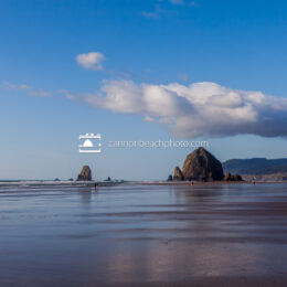 Sunny Low Tide View of Haystack Rock