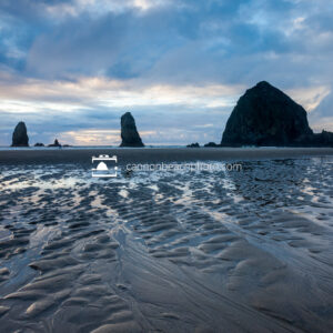 Rippled Sand, Haystack Rock Blue Sunset 1