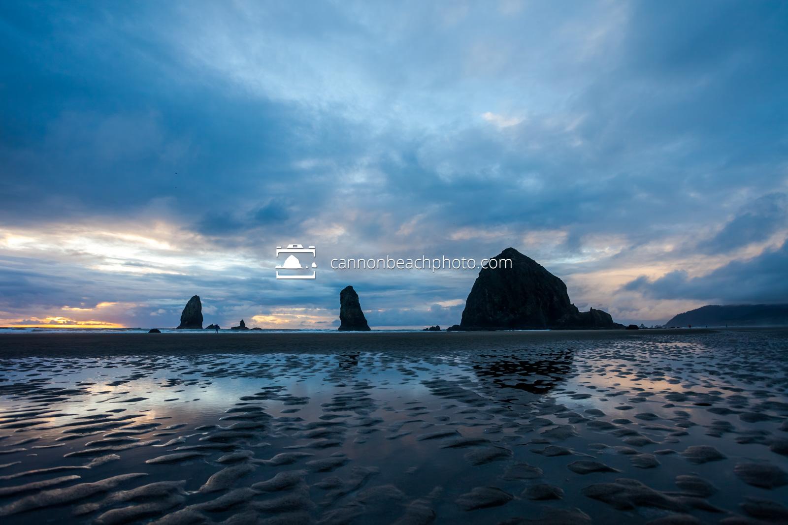Rippled Sand, Haystack Rock Blue Sunset 2