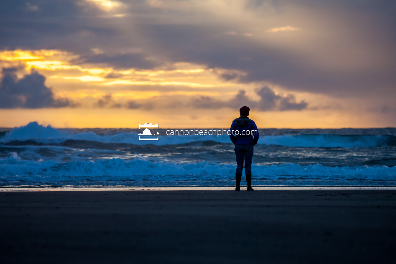Woman Watching Sunset in Cannon Beach 1