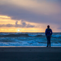 Woman Watching Sunset in Cannon Beach 2