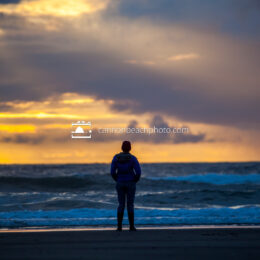 Woman Watching Sunset in Cannon Beach 3